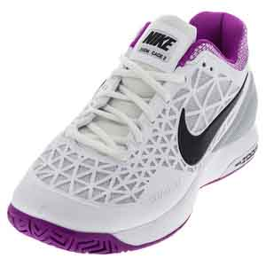 Women`s Zoom Cage 2 Tennis Shoes White and Hyper Violet