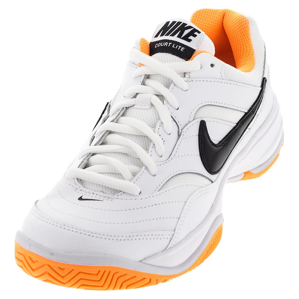 Men's Court Lite Tennis Shoes White And Bright Citrus