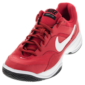 Men`s Court Lite Tennis Shoes Action Red and White