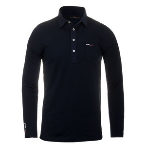 Men`s Long Sleeve Tech Pique Polo French Navy