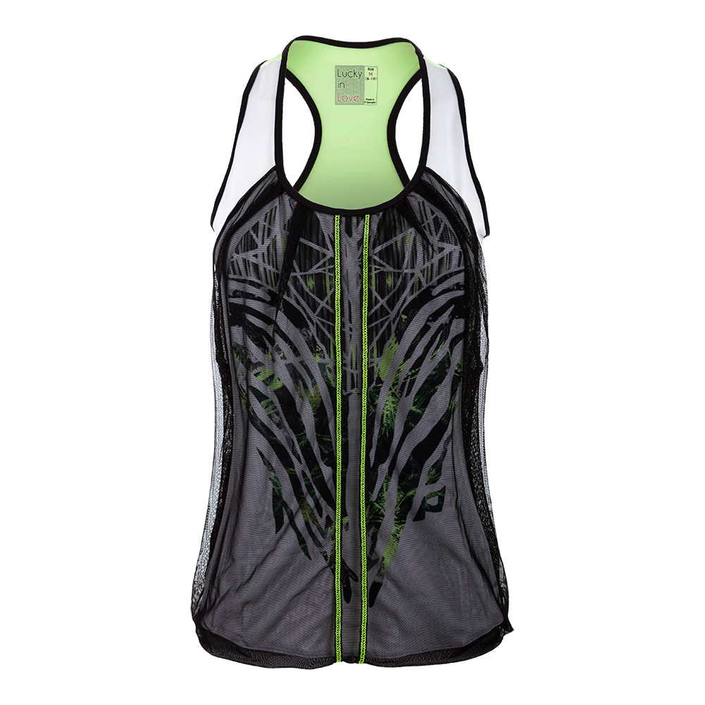 Women's Into The Woods Mesh Drape Tennis Tank Black And White