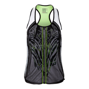 Women`s Into the Woods Mesh Drape Tennis Tank Black and White