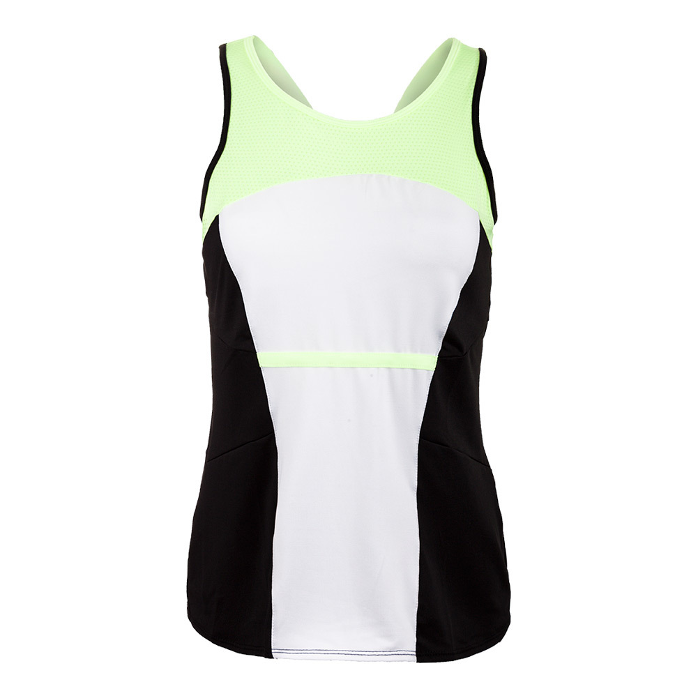 Women's High Neck Tennis Cami White And Black