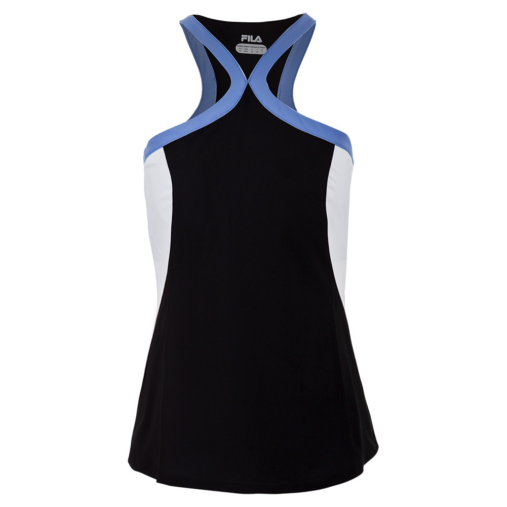 Women's Platinum Halter Tennis Tank Black And White