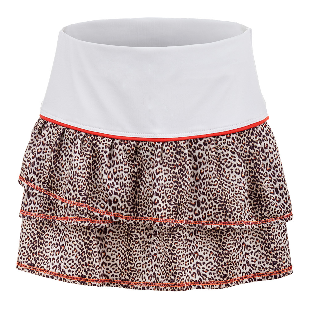 Girls ` Pleated Tier Tennis Skort White And Print