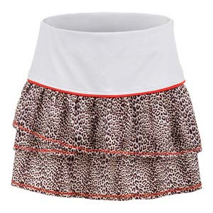 Girls` Pleated Tier Tennis Skort White and Print