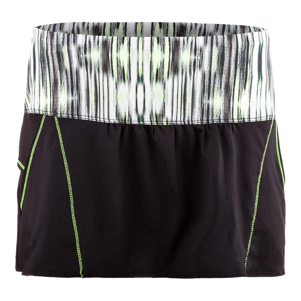 Women's Chill Tennis Skort Black And Lemon Frost