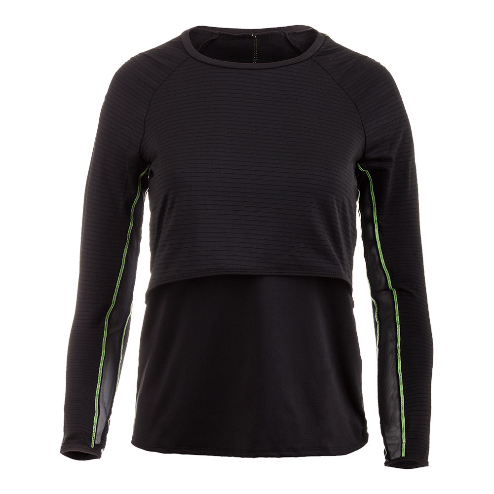 Women's Shadow Stripe Long Sleeve Layered Tennis Top Black