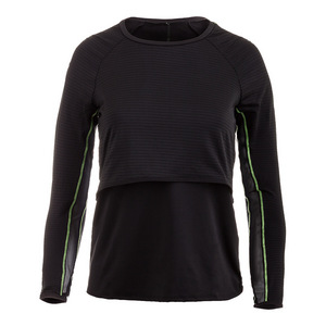 Women`s Shadow Stripe Long Sleeve Layered Tennis Top Black