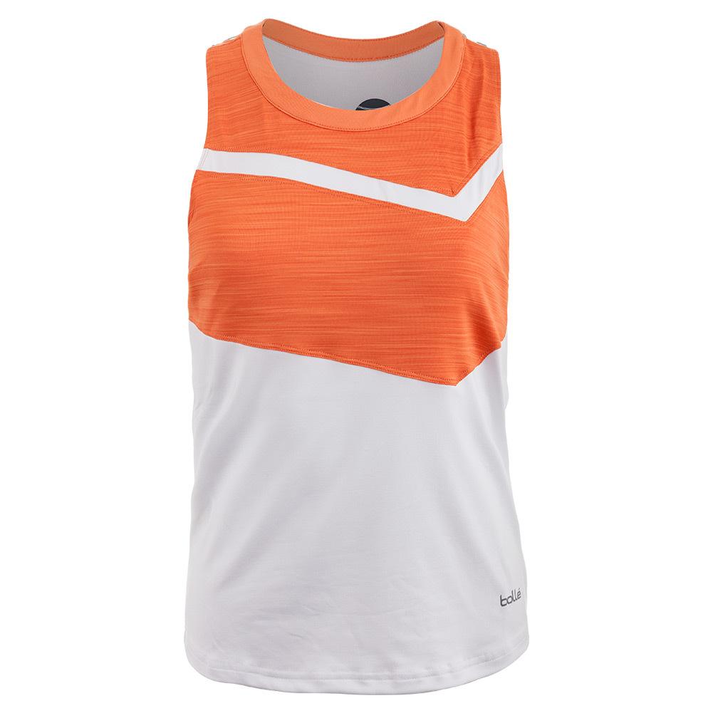 Women's Gabriella Tennis Tank White And Orange