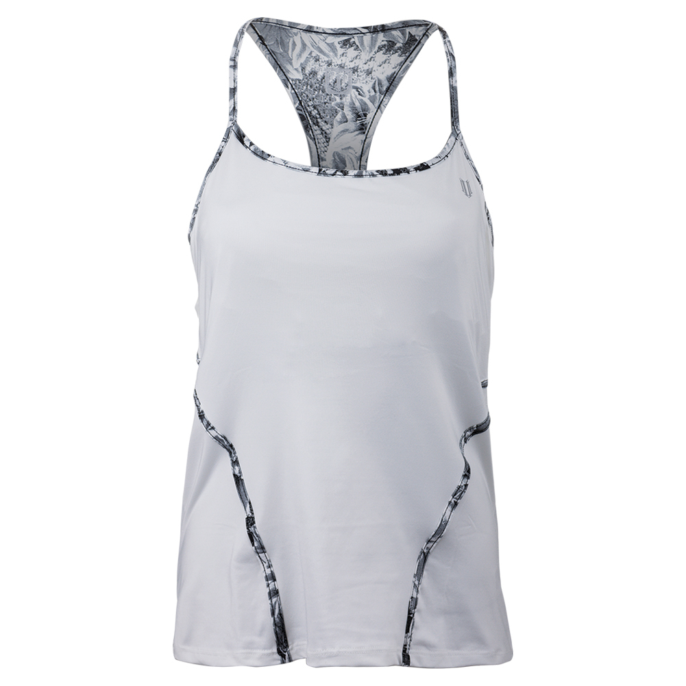 Women's Glide Back Tennis Tank White And Casablanca Print