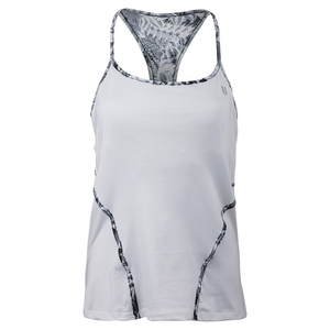 Women`s Glide Back Tennis Tank White and Casablanca Print