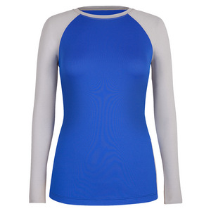 Women`s Sueann Long Sleeve Tennis Top Saint Tropez and White Heather