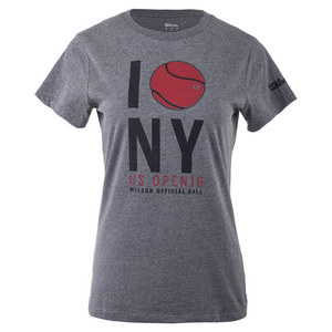 Women`s NYC Graphic Tennis Tee Charcoal Heather