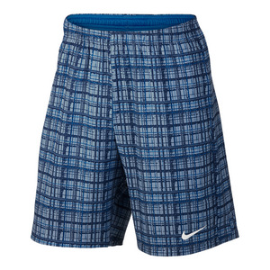 Men`s Court 9 Inch Plaid Tennis Short Blue Gray and Photo Blue