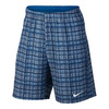 NIKE Men`s Court 9 Inch Plaid Tennis Short Blue Gray and Photo Blue