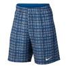 NIKE Men`s Court 9 Inch Plaid Tennis Short Blue Gray and Photo Blue