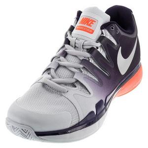 Men`s Zoom Vapor 9.5 Tour Tennis Shoes Pure Platinum and Purple Dynasty