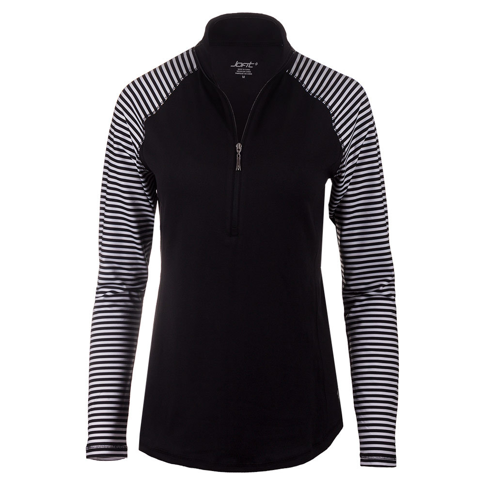 Women's Brushed Long Sleeve Mock Tennis Top Cabernet Stripe