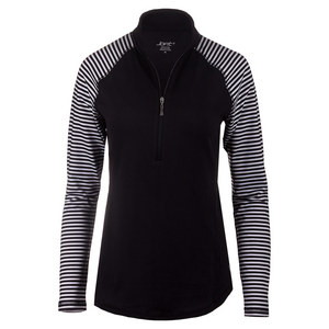 Women`s Brushed Long Sleeve Mock Tennis Top Cabernet Stripe