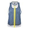 LUCKY IN LOVE Women`s Mesh Crop Layer Tennis Tank Chambray