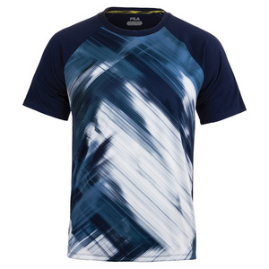 Men`s Hurricane Printed Tennis Crew Navy and White