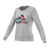 ADIDAS Women`s Brand Long Sleeve Tennis Crew Medium Gray Heather