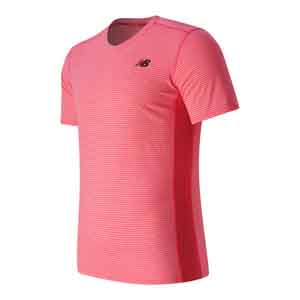 Men`s Striped Sonic Tennis Top Bright Cherry