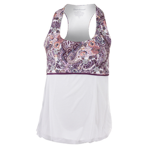 Women`s Racerback Tennis Top Mulberry Print and White