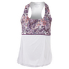 DENISE CRONWALL Women`s Racerback Tennis Top Mulberry Print and White