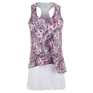 Women`s Tennis Dress Mulberry Print and White