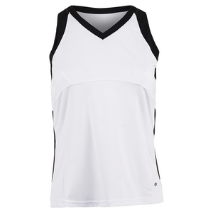 Women`s Raquel Tennis Tank White and Black