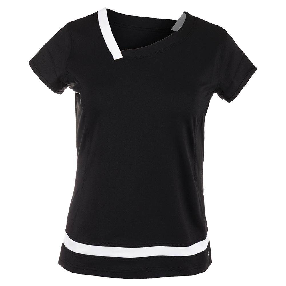Women's Raquel Cap Sleeve Tennis Top Black