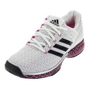 Women`s Adizero Ubersonic 2 Think Pink Tennis Shoes White and Black