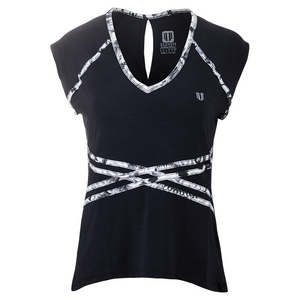 Women`s Inspire Cap Sleeve Tennis Top Black