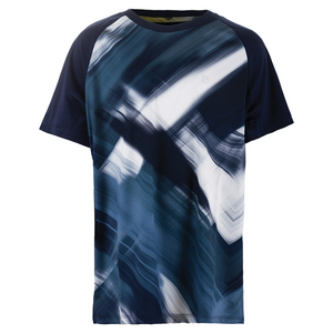 Boys` Hurricane Printed Tennis Crew Navy and White