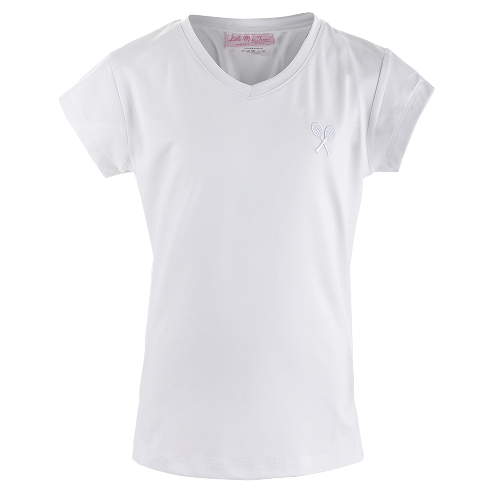 Girls ` Cap Sleeve Tennis Top White