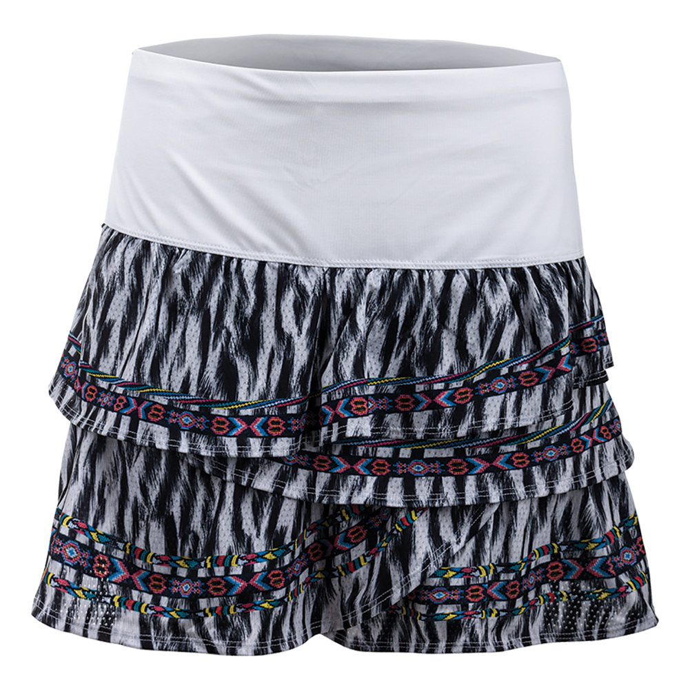 Women's Long Fur Play Rouched Scallop Tennis Skort Print