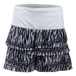 Women`s Long Fur Play Rouched Scallop Tennis Skort Print