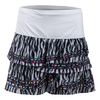 LUCKY IN LOVE Women`s Long Fur Play Rouched Scallop Tennis Skort Print
