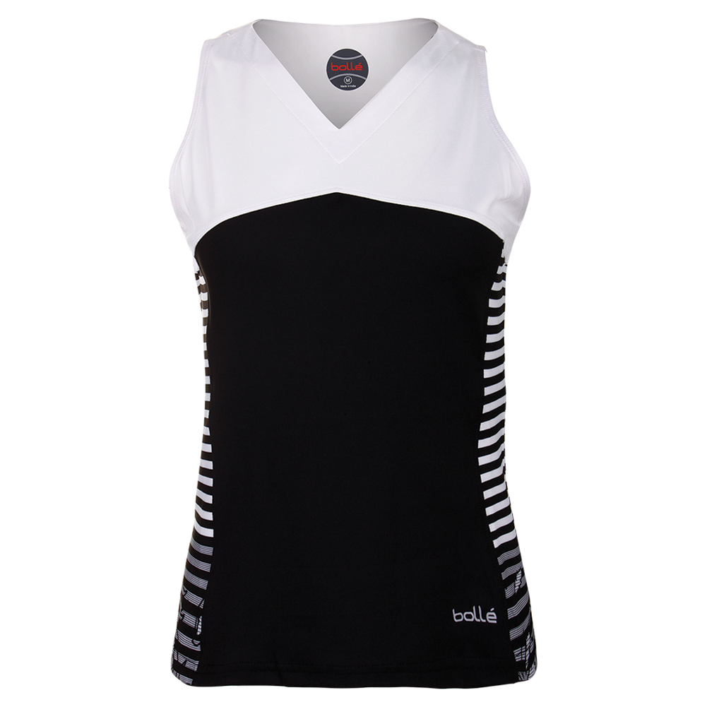Women's Isabella Tennis Tank Black And White