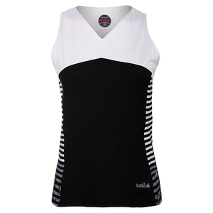 Women`s Isabella Tennis Tank Black and White