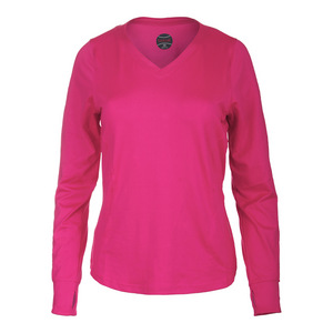 Women`s Isabella Long Sleeve Tennis Top Fuchsia