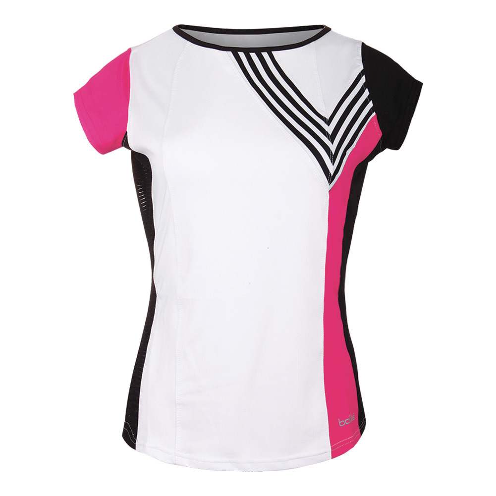 Women's Isabella Cap Sleeve Tennis Top White And Fuchsia