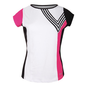 Women`s Isabella Cap Sleeve Tennis Top White and Fuchsia