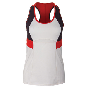 Women`s Colorblock Tennis Tank Vanilla and Shale