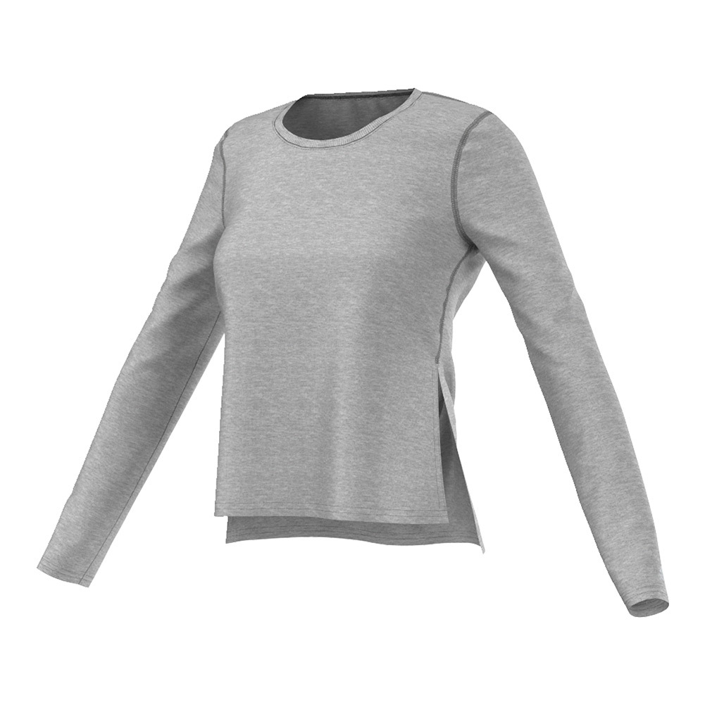 Women's Ultimate Long- Sleeve Side- Slit Tee Medium Gray Heather