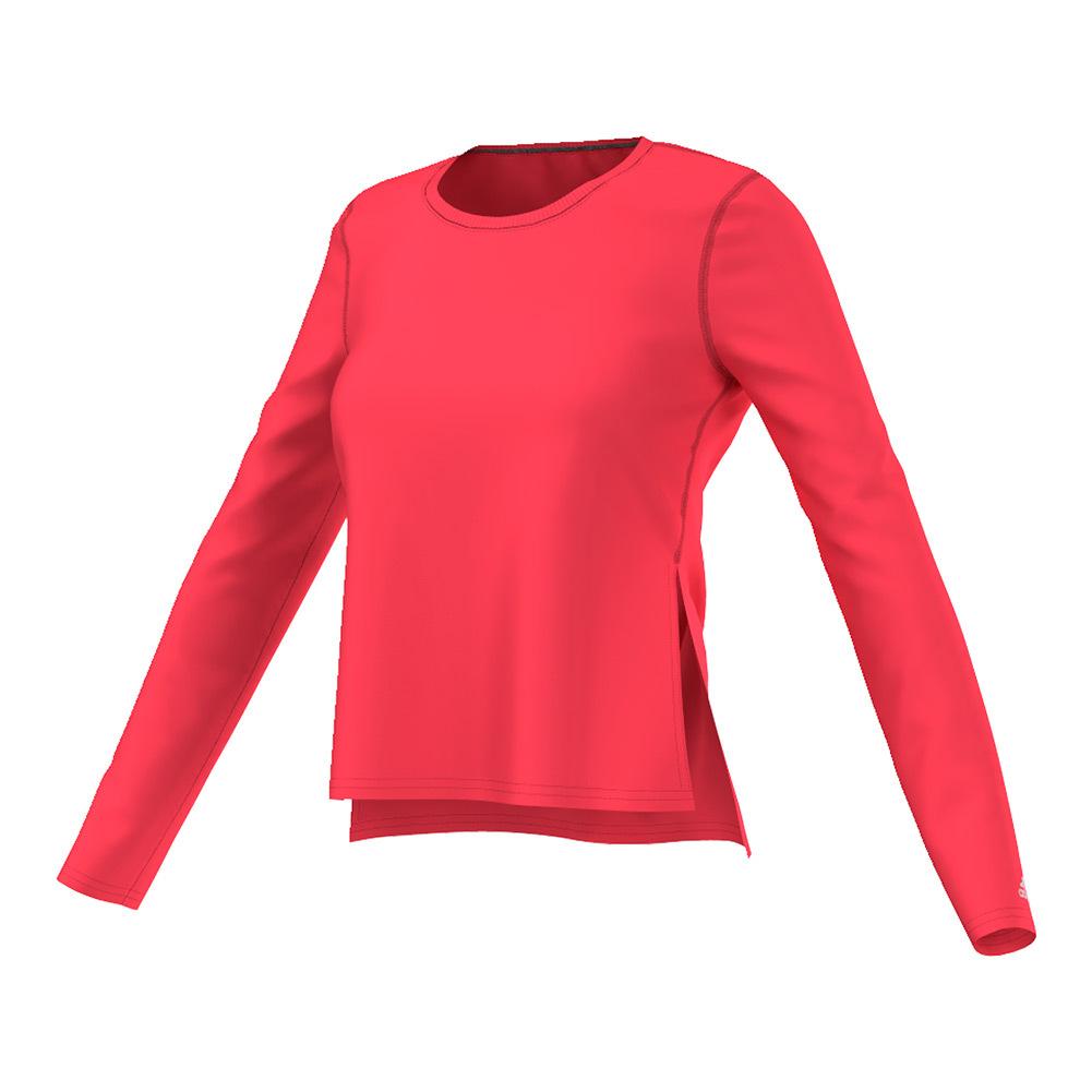 Women's Ultimate Long Sleeve Side Slit Tee Shock Red