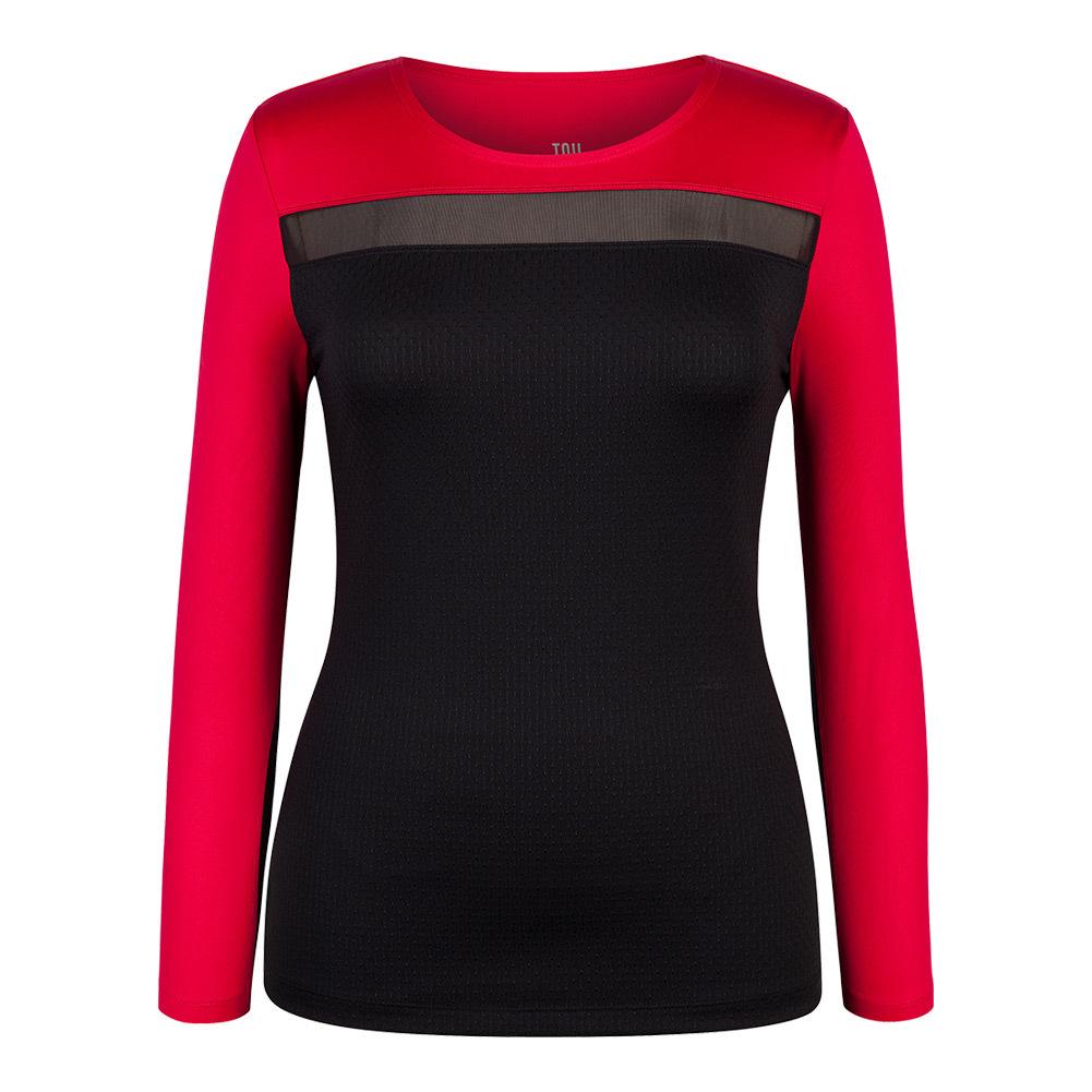 Women's Rosalee Long Sleeve Tennis Top Black And Matador Red