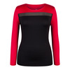 TAIL Women`s Rosalee Long Sleeve Tennis Top Black and Matador Red